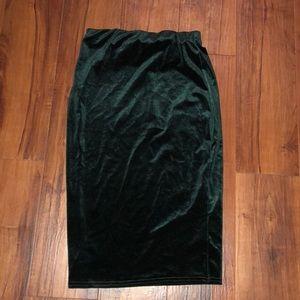velvet fitted midi skirt